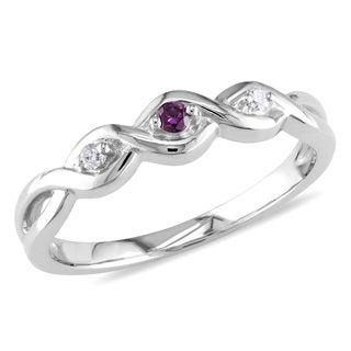 Miadora 10k White Gold Pink and White Diamond Accent Promise Ring