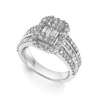 Cambridge 14k White Gold 1 1/4ct TDW Emerald Diamond Ring