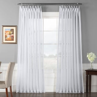 Signature White Extra Wide Double Layer Sheer Curtain Panel