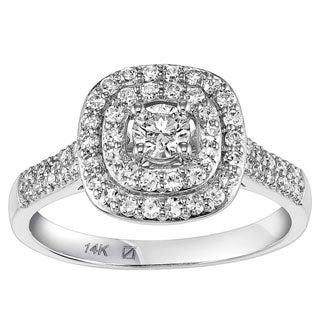 Cambridge 14k White Gold 3/5ct TDW Cushion Halo Diamond Ring