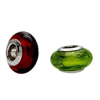 Sterling Essentials Silver Lime Green Italian Murano Glass Bead with Bonus Orange Bead
