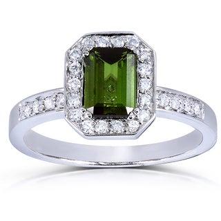 Annello 14k White Gold Green Tourmaline and 1/4 ct TDW Diamond Ring (G-H, SI1-SI2)