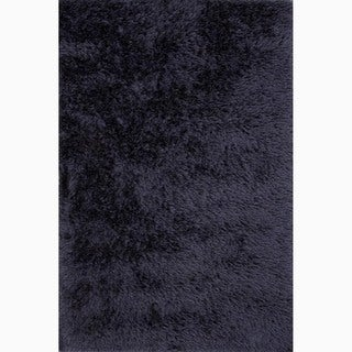 Hand-Made Solid Pattern Blue Polyester Rug (9x12)