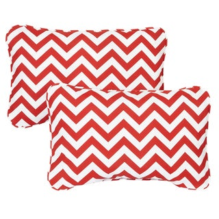 Red Chevron Corded 13 x 20 inch Indoor/ Outdoor Throw Pillows (Set of 2)