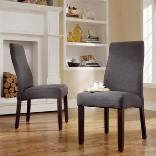 INSPIRE Q Marcey Dark Grey Fabric Wave Back Dining Chair (Set of 2)
