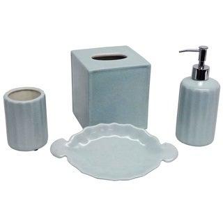 Baby Blue Porcelain Bath Accessory 4-piece Set