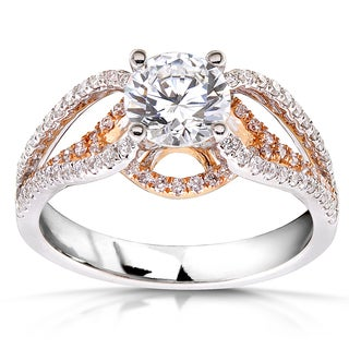 Annello 18k Gold Certified 1 1/2ct TDW Rose Accent Round Cut Diamond Ring (F, SI2)