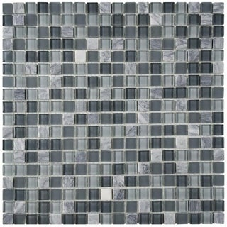 SomerTile 11.75x11.75-inch View Mini Fortress Glass and Stone Mosaic Wall Tile (Case of 16)