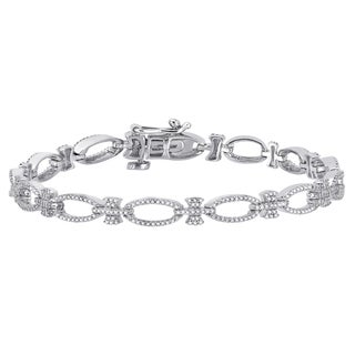 Auriya 10k White Gold 1ct TDW Open Link Diamond Bracelet (H-I, SI1-SI2)