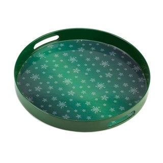 Green Snowflake Serving Tray