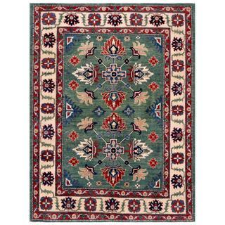 Afghan Hand-knotted Kazak Green/ Ivory Wool Rug (4'10 x 6'6)