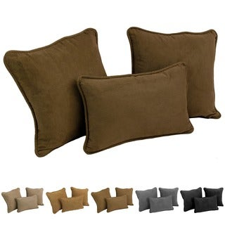 Blazing Needles Solid Neutral Microsuede Pillows (Set of 3)