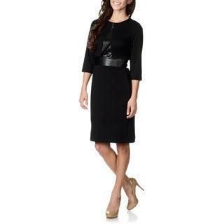 Lennie for Nina Leonard Women's Black Leatherette Waist Dress