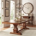 TRIBECCA HOME Atelier Traditional French Burnished Brown Pedestal Extending Dining Table