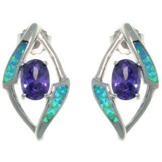 CGC Sterling Silver Created Opal and Purple CZ Fancy Diamond-Shape Design Earrings