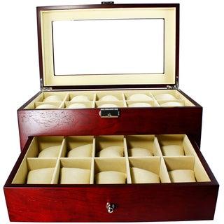 Luxury Jewelry and Watch Display Box Cherrywood