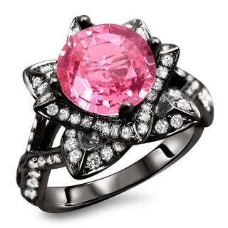 Pink Silver Round Cut Diamond Fashion Ring Size 7 Pink Diamond Rings Gold