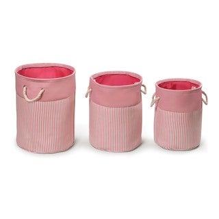 Badger Basket Pink/Stripe Nesting Round 3 Basket and Hamper Set