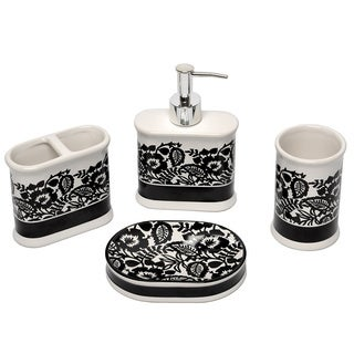 Esmee Black and White Bath Accessory 4-piece Set