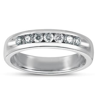Eloquence Men's 1/2 TWD Platinum Diamond Channel Band (G-H, SI1-SI2)
