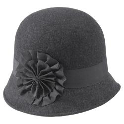 Women's San Diego Hat Company Flower Cloche WFH7738 Charcoal