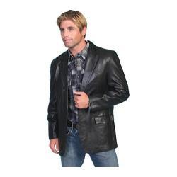 Men's Scully Leather Lambskin Blazer 501 Long Black Lamb