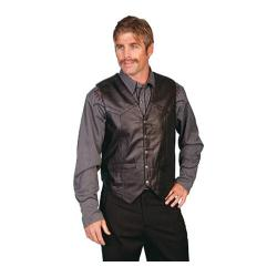 Men's Scully Leather Lambskin Snap Front Vest 507 Black/Soft Touch Lamb