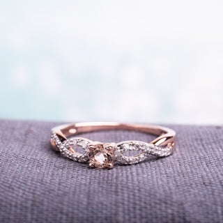 Miadora Roseplated Silver Morganite and 1/10ct TDW Diamond Ring (H-I, I2-I3)