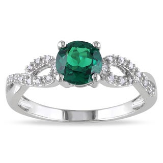 Miadora 10k White Gold Created Emerald and 1/10ct TDW Diamond Ring (G-H, I1-I2)
