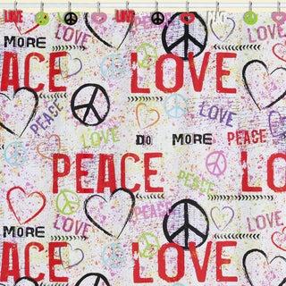Peace Love Graffiti Shower Curtain & Hook Set