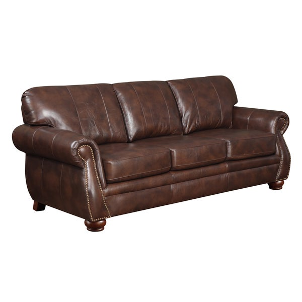 At Home Designs Monterey Natural Brown Leather Sofa Overstock Shopping Great Deals On Sofas