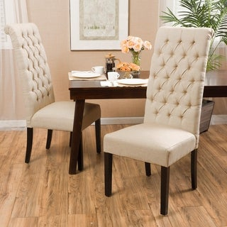 Christopher Knight Home Tall Dark Beige Tufted Dining Chair (Set of 2)