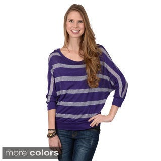 Journee Collection Junior's Striped Dolman Sleeve Top