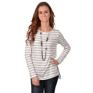 Journee Collection Junior's Striped Long-Sleeve Top with No Collar