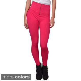 Journee Collection Junior's Zipper-Accent Stretchy Fleece Lined Leggings