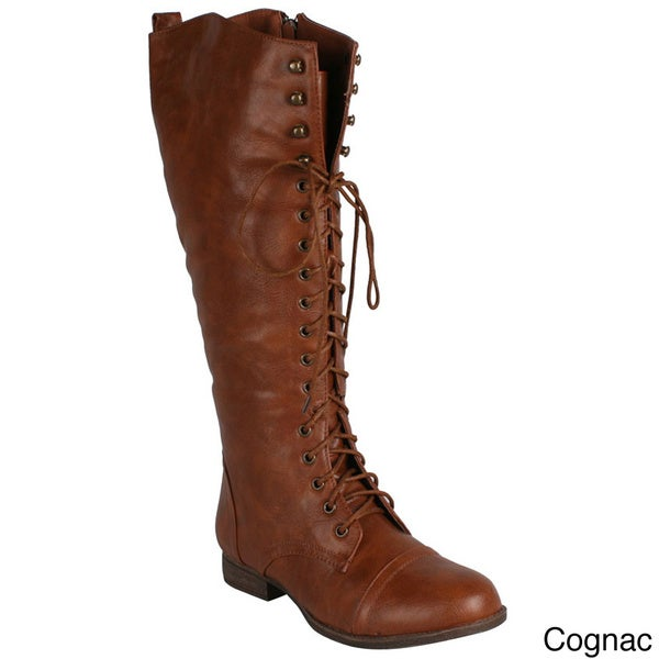 Refresh Women's 'Libby-05' Lace-up Knee-high Riding Boots
