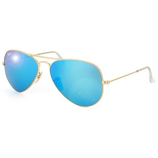 Ray-Ban 'RB3025' Unisex Matte Gold/ Blue Metal Aviator Sunglasses