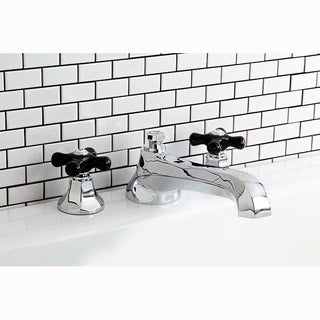 Chrome and Black Widespread Roman Tub Filler