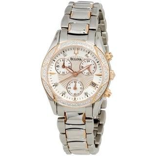 Bulova Women's Diamond 98R149 Mother of Pearl Stainless-Steel Quartz Chronograph Watch