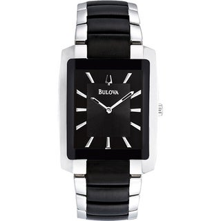 Bulova Men's Dress 98A117 Silver Stainless-Steel Quartz Watch with Black Dial