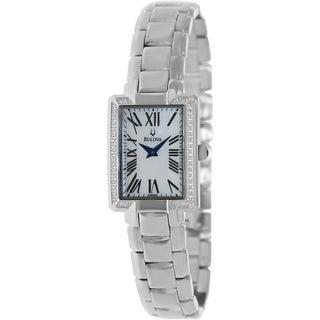 Bulova Women's 96R160 Fairlawn Silvertone Bracelet White Dial Watch