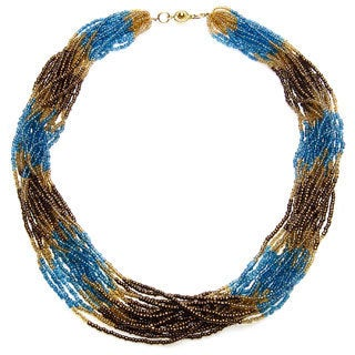 Dusk Skies Multi-row Blue/ Bronze and Goldtone Beaded Necklace (Uganda)