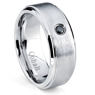 Oliveti Cobalt Men's Brushed Beveled Edge Black Diamond Accent Ring (8 mm )