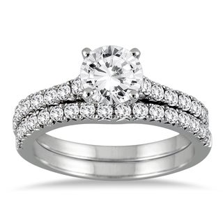 14k White Gold 1 3/8ct TDW Round Diamond Bridal Set (I-J, I2-I3)