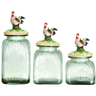 Polystrone Glass Rooster Canisters (Set of 3)