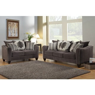 Furniture of America Philippe 2-piece Contemporary Chenille Fabric Upholstered Sofa and Loveseat Set