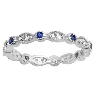 14k White Gold 1/6ct TDW Blue Sapphire and Diamond Vintage Style Band (I-J, I2-I3)