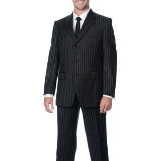 Silvio Bresciani Men's Super 120 Stripe Three-Button Double Vent Wool Suit