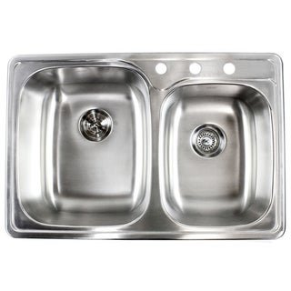 33-inch 18-gauge Top-Mount/Drop-In Stainless Steel Double 60/40 Bowl Kitchen Sink