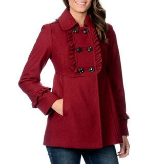 Kensie Women's Double Breasted Ruffle Coat